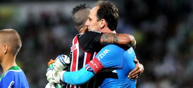 Rogerio Ceni comemoração jogo Nacional de Medellín contra São Paulo (Foto: AP)