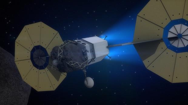 Veículo leva bloco de asteroide para órbita ao redor da Lua  (Foto: Asteroid Initiative/Nasa)