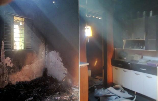 Incêndio destruiu dois cômodos e diversos móveis da casa de Valparaíso de Goiás (Foto: Divulgação/Corpo de Bombeiros)
