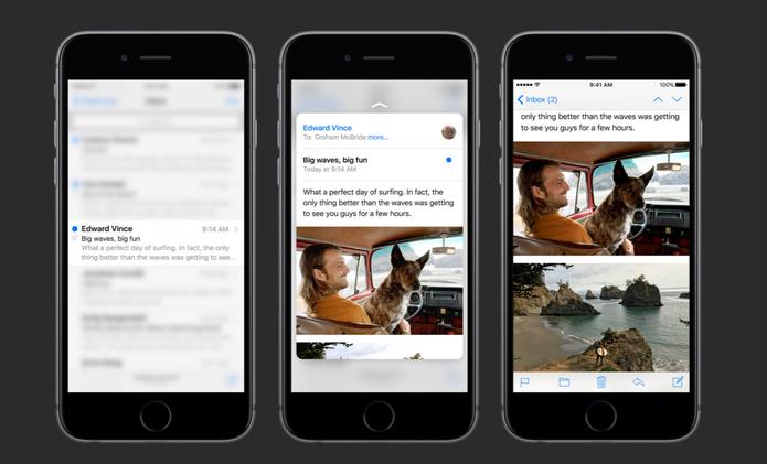 iPhone 6S usará 3D Touch na função Peek and Pop que abre apps a partir de miniaturas (Foto: Reprodução/Apple)