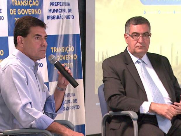 O novo prefeito de Ribeirão Preto, Duarte Nogueira (PSDB), e o professor Alberto Borges Matias, membro da equipe de transição  (Foto: Reprodução/EPTV)