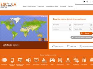 Página da plataforma Escola Digital, que reúne objetos digitais de aprendizagem na web (Foto: Reprodução)