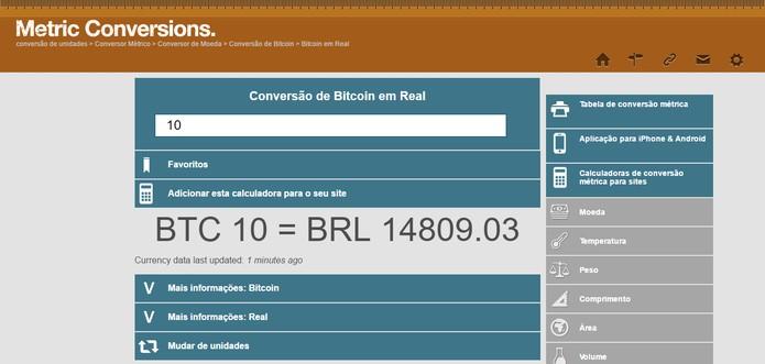Metric Conversions Permite Fazer O Câmbio Entre Moedas E Bitcoin Foto Reprodução Barbara