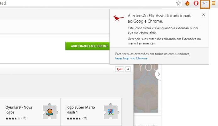 O Flix Assist vai adicionar um ícone no topo direito do Chrome (Foto: Reprodução/Barbara Mannara)