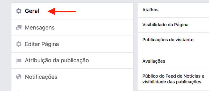 A guia geral apresenta todas as configurações básicas para uma página do Facebook (Foto: Reprodução/Marvin Costa)