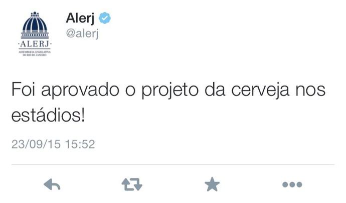 Alerj aprova volta da cerveja nos estádios do Rio de Janeiro  (Foto: Reprodução / Twitter)