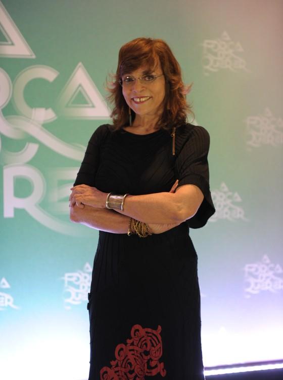 A autora posa na festa de lançamento da trama, que aconteceu recentemente em um hotel carioca (Foto: TV Globo)