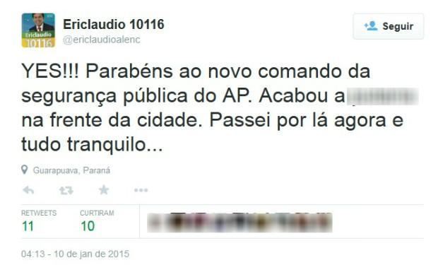 Deputado do Amapá opinou usando o Twitter (Foto: Reprodução/Twitter)