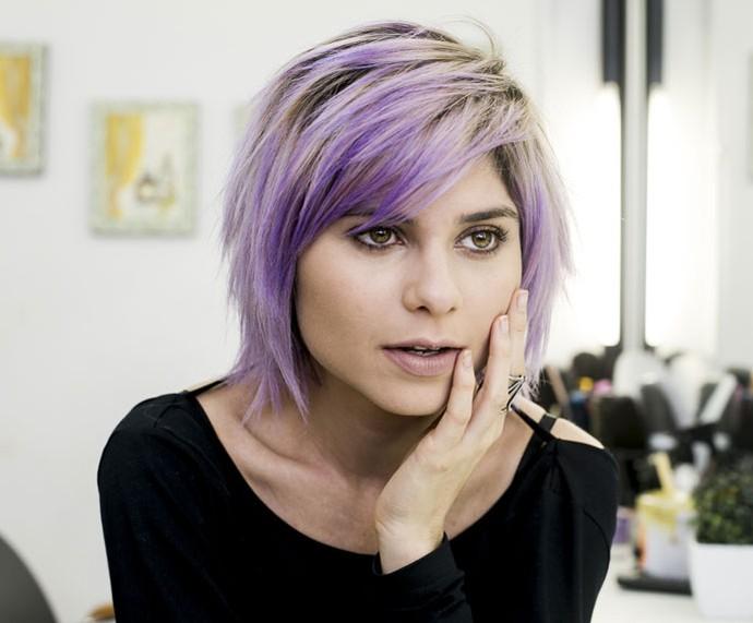 Julianne Trevisol exibe novo visual com o cabelo de cor lavanda  (Foto: Ellen Soares/Gshow )