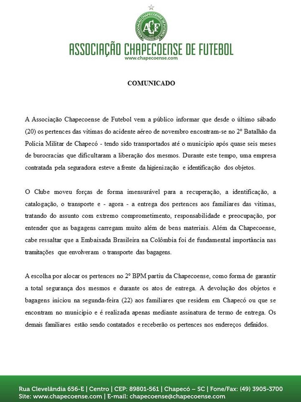 Chapecoense divulga nota informando que tratou assunto com responsabilidade (Foto: Reprodução/G1)