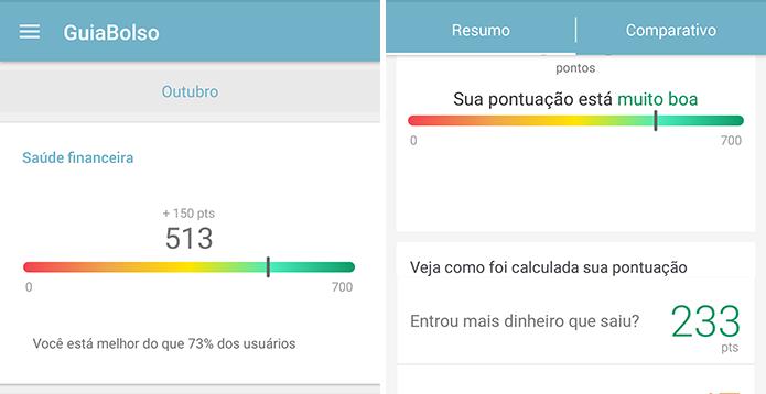 Aplicativo compara sua saúde financeira com outros usuários (Foto: Reprodução/Paulo Alves)