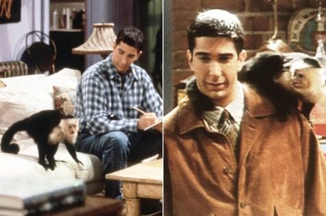 Ross (David Schwimmer) e Marcel em 'Friends' (Foto: Reprodução da internet)