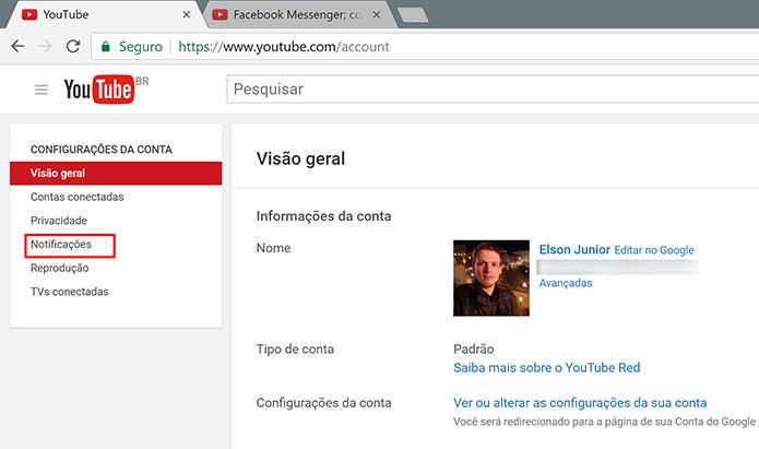 Clique na guia notificações para ativar alertas do YouTube na área de trabalho (Foto: Reprodução/Elson de Souza)