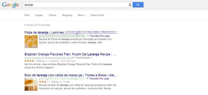 """Resultado da busca por """"larnaja"""" no Google (Foto: Reprodução/Taysa Coelho)"""