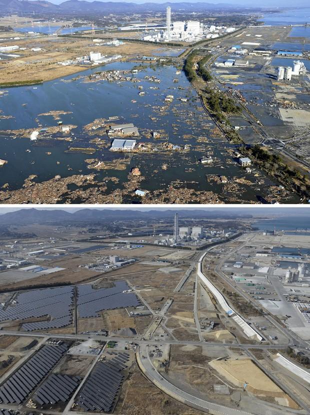A cidade de Shinchi arrasada pelo tsunami em foto tirada em 12 de março de 2011 (acima); abaixo, foto tirada em 2 de março de 2016 (Foto: Kyodo/Reuters)