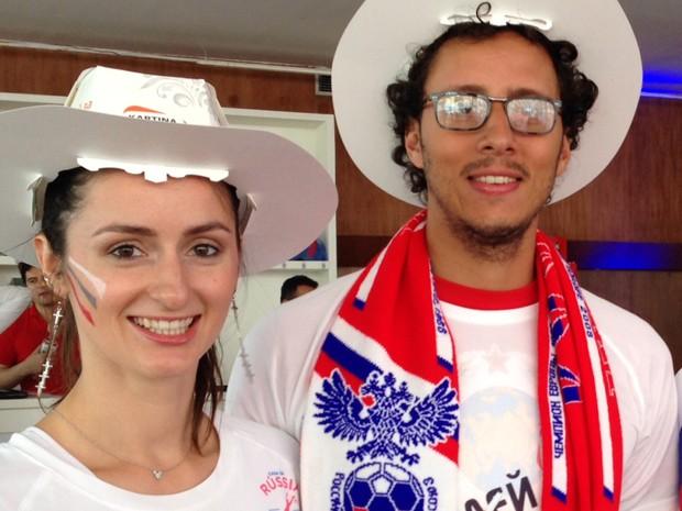 Casal russo-brasileiro viu o jogo no MAM (Foto: Káthia Mello / G1)