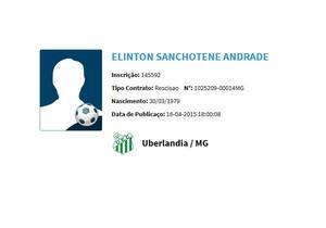 Rescisão Elinton Andrade Uberlândia UEC (Foto: Reprodução/CBF)