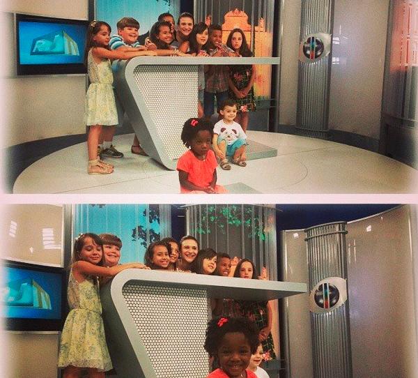 Criançada do Norte Fluminense se diverte no estúdio durante a gravação de vinheta de final de ano (Foto: Divulgação/ Inter TV)
