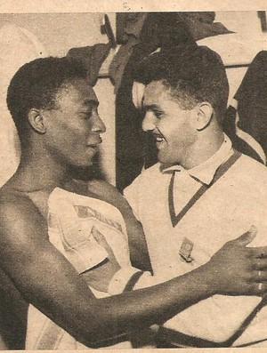 Pelé e Dida na Copa de 1958 (Foto: Arquivo Museu dos Esportes)
