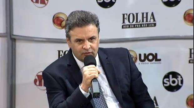 Candidato à Presidência, Aécio Neves é sabatinado por jornalistas de Folha, UOL, SBT e rádio Jovem Pan (Foto: Reprodução)