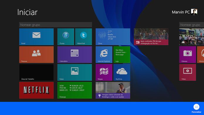 O usuário pode nomear cada grupo de blocos da tela inicial do Windows 8.1 (Foto: Reprodução/Marvin Costa)