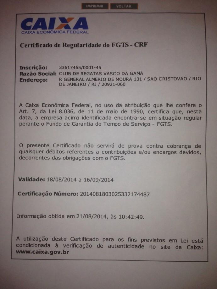 Certidão FGTS Vasco (Foto: Reprodução)