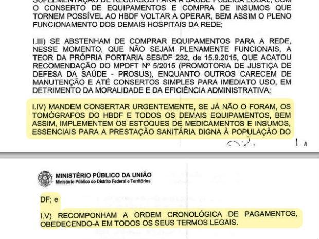 Documento emitido pelo MPDFT em 23 de outubro recomenda conserto de tomógrafos da rede pública do DF (Foto: MPDFT/Reprodução)