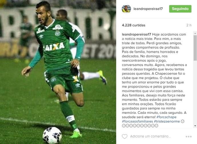 Leandro Pereira mensagem Chapecoense (Foto: Reprodução Instagram)