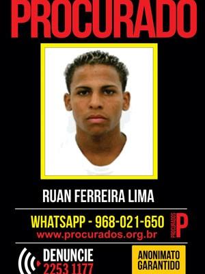 de Juan Ferreira de Lima é suspeito de assassinar Bruna Indelino Camargo, de 14 anos (Foto: Portal dos Procurados / Divulgação)