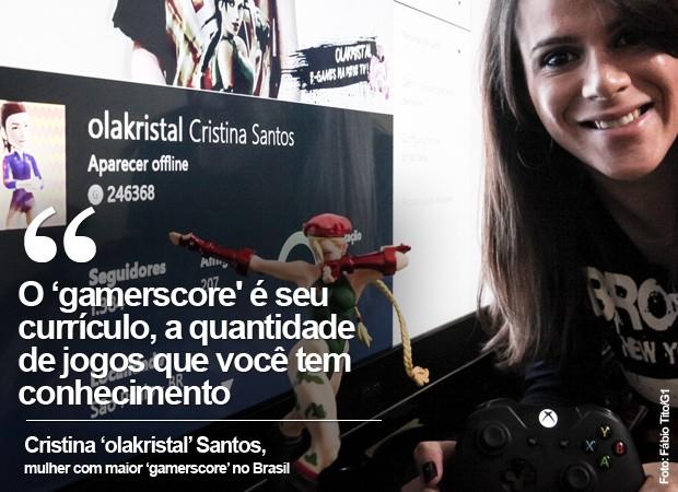 O 'gamerscore' é seu currículo, a quantidade de jogos que você tem conhecimento, diz Cristina Santos, a 'olakristal' (Foto: Fábio Tito/G1)