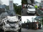 Carreta tomba, pega fogo e interdita a Rodovia Régis Bittencourt, no Paraná