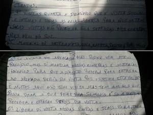 Carta com a reivindicação dos presos foi entregue à Secretaria de Segurança do RN (Foto: G1/RN)