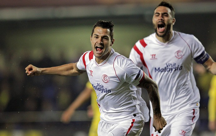 Sevilla x Villarreal - Vitolo comemora gol (Foto: EFE)
