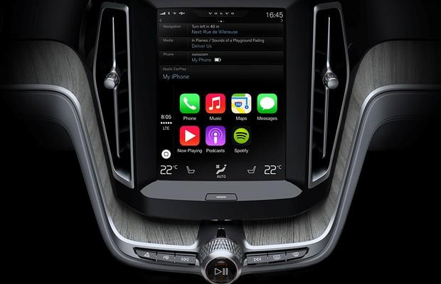 Tecnolgia CarPlay em carro da Volvo (Foto: Divulgação)