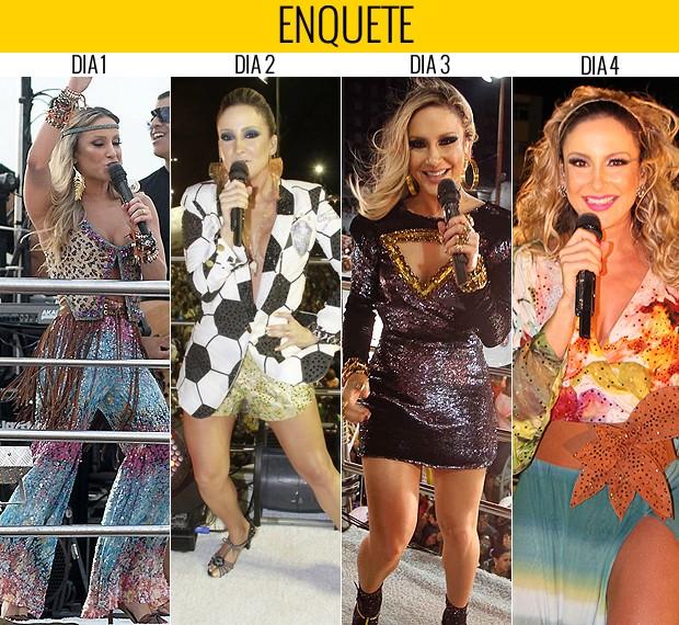 Dá esquerda para direita, os looks de Claudia Leitte, desde o primeiro dia. Qual é o seu preferido? (Foto: Ricardo Cardoso)