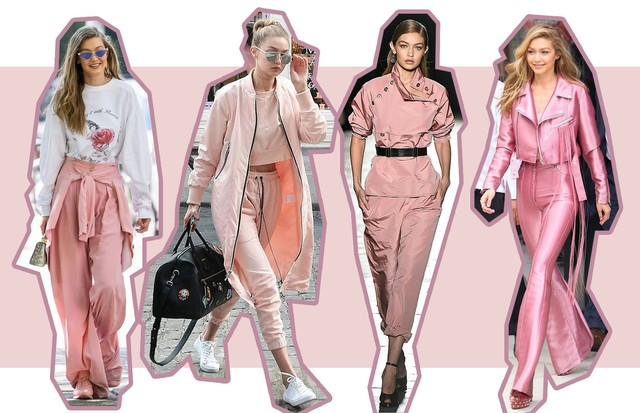 Como usar o rosa millennial segundo Gigi Hadid (Foto: Reprodução)