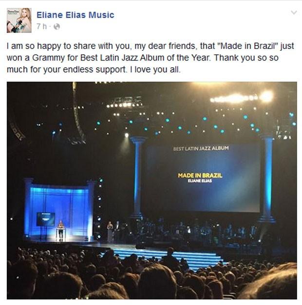 Pianista brasileira Eliane Elias agradece aos amigos pelo prêmio de melhor álbum de jazz latino no Grammy (Foto: Reprodução/Facebook/Eliane Elias)