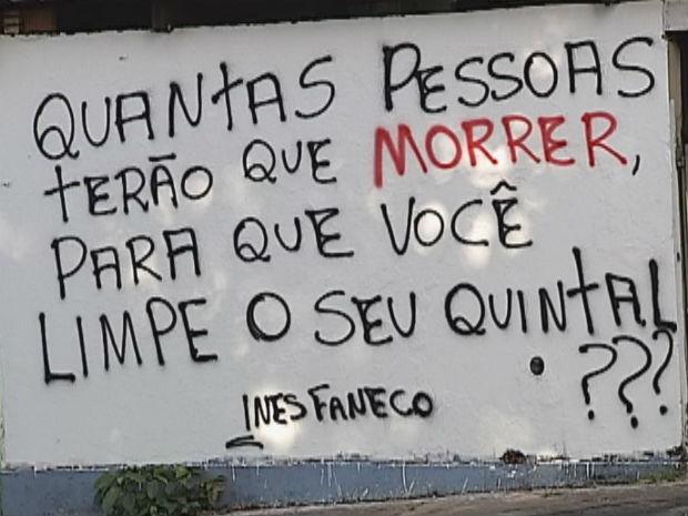 Moradora de Bauru pichou o muro para conscientizar a população sobre a dengue (Foto: Reprodução/TV Tem)