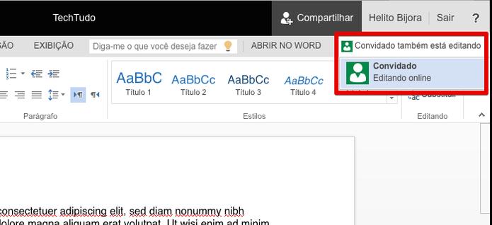 Word Online informa quais usuários estão editando o documento (Foto: Reprodução/Helito Bijora)