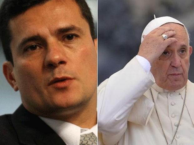 Deputados do Paraná querem homenagear Sergio Moro e Papa Francisco (Foto: J.F. Diorio/Estadão Conteúdo e Andreas Solaro/AFP)