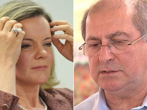 A senadora Gleisi Hoffmann (PT-PR) e o seu marido, o ex-ministro Paulo Bernardo (Foto:  Antonio Cruz / Agência Brasil e Reprodução EPTV)