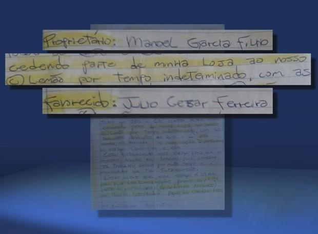 Na carta escrita à mão um detento conhecido como 'Manezinho', cedia formalmente o que ele chamava de loja para Júlio César. No documento consta também o endereço a que ele teria direito, além de algumas condições. (Foto: Reprodução EPTV)
