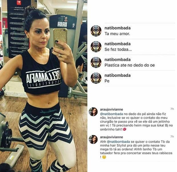 Vivianne Araújo rebate críticas de seguidora (Foto: Reprodução/Instagram)
