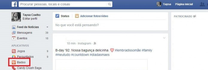 Acesse o Badoo pelo menu lateral do Facebook (Reprodução/Taysa Coelho) (Foto: Acesse o Badoo pelo menu lateral do Facebook (Reprodução/Taysa Coelho))