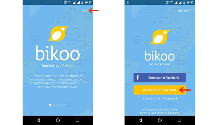 Telas iniciais do Bikoo (Foto: Reprodução/Raquel Freire)