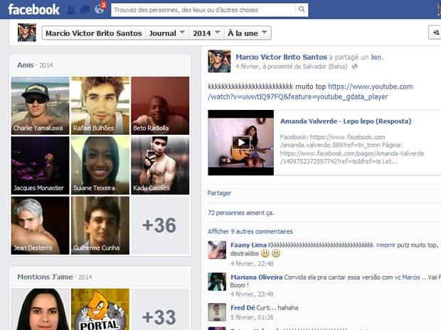Postagem do vocalista da banda Psirico, Marcio Victor, compartilhando paródia de jovem do DF em rede social (Foto: Facebook/Reprodução)