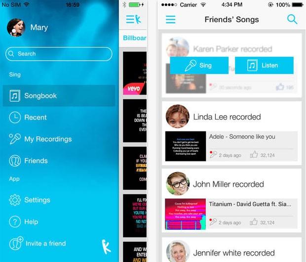 Usuário pode escolher, cantar e compartilhar performance por meio do 'Yokee' (Foto: Divulgação/Yokee)