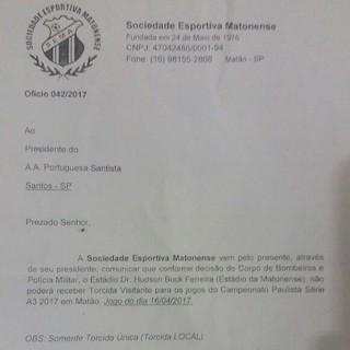 Ofício da Matonense (Foto: Reprodução)