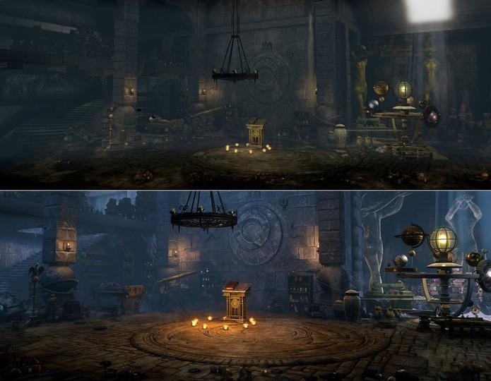 Gráficos de Killer Instinct antes (acima) e depois (abaixo) das melhorias de arte da terceira temporada (Divulgação/Microsoft)