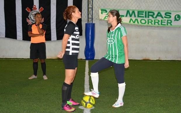 Karina Quadros e Vanessa Mafra participam de clássico Corinthians x Palmeiras, em Porto Velho (Foto: Angelina Ayres Medeiros/Rede Amazônica)
